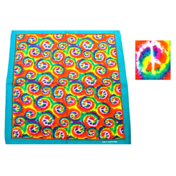TYE DYE SWIRLS WITH PEACE SIGNS BANDANAS